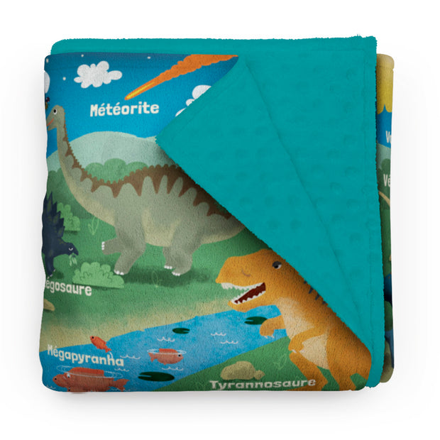 "Jurassic Friends - ""learning"" minky comforter (French version)"