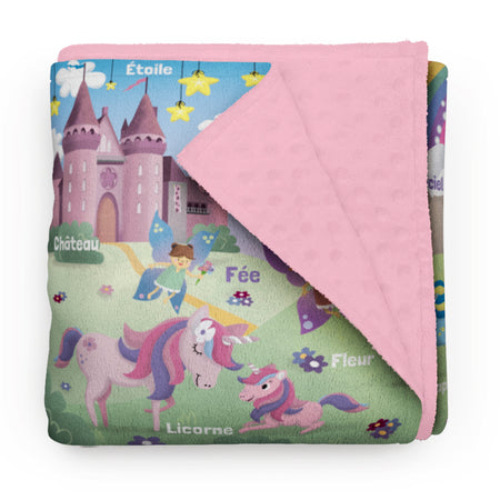 "Dreamy World - ""learning"" minky comforter (French version)"