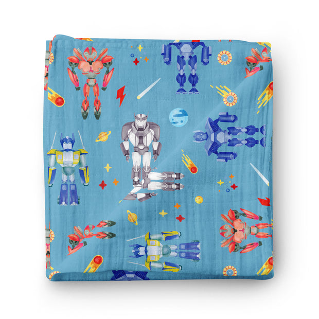 Space patrol - bamboo muslin swaddle
