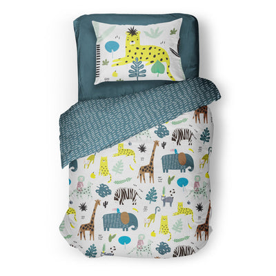 Jungle fever - bedspread in reversible minky (single & double)