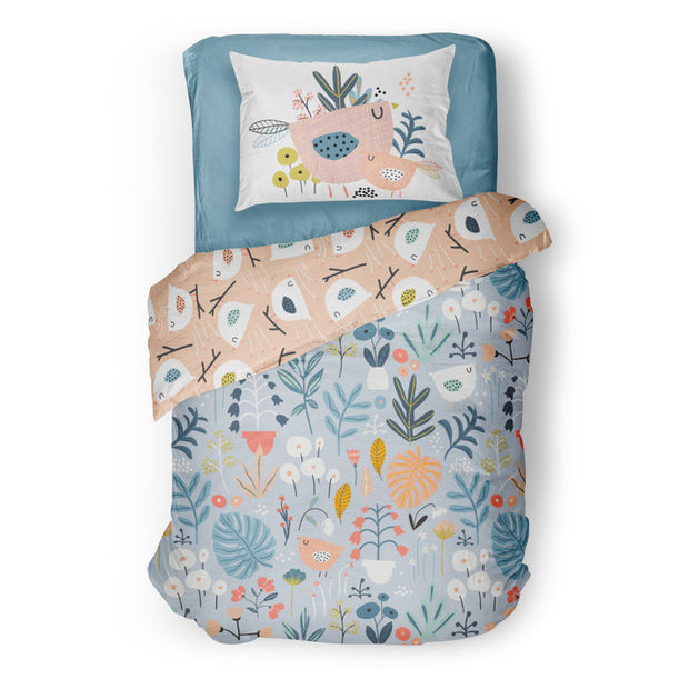 Dreaming in flowers - bedspread in reversible minky (single & double)