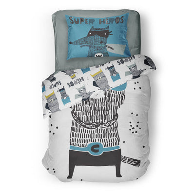 Super-friends - bedspread in reversible minky (single & double)