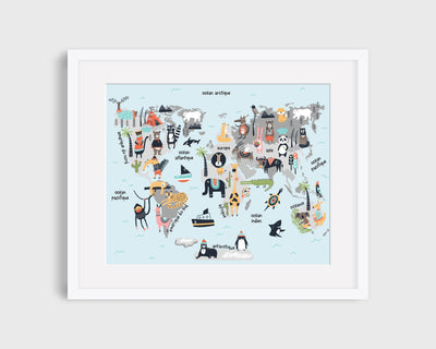 Animals World Map - poster board - READY TO SHIP