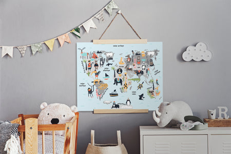Animals World Map - poster board