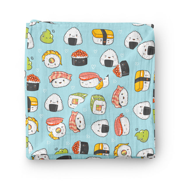 DUO - Funky sushis & Ramen noodles - bamboo muslin swaddle