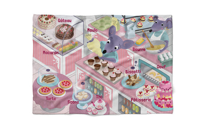 "Pastry Mania - ""learning"" minky comforter (French version)"