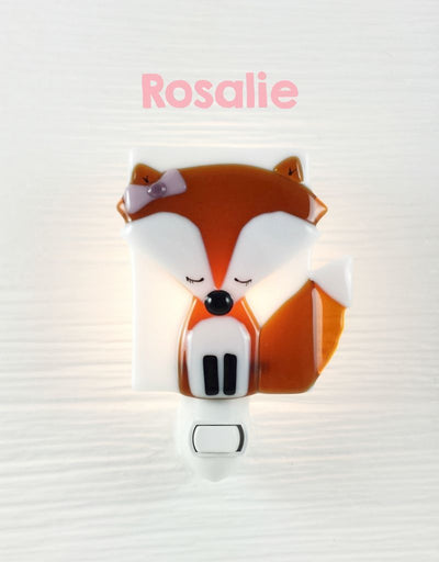 Glass Nightlight - Rosalie the fox - Veille sur toi