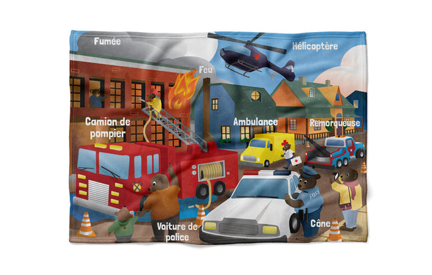 "Emergency Vehicles - ""learning"" minky comforter (French version)"