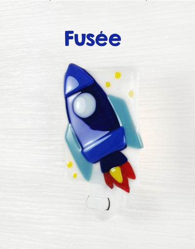 Glass Nightlight - Rocket - Veille sur toi