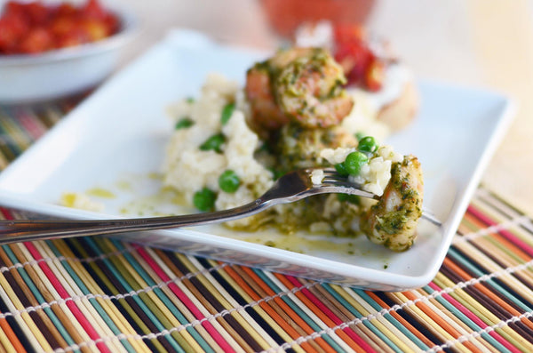 Baked Lemon Parmesan Risotto with Grilled Pesto Shrimp