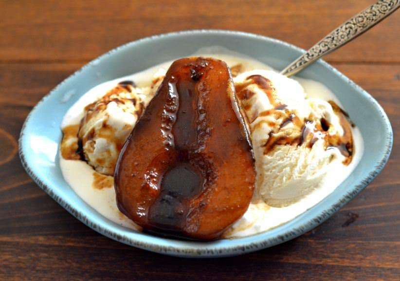 Balsamic Poached Pears with Vanilla Ice Cream