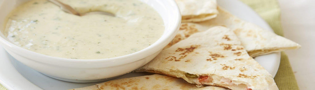 Cream of Tomatillo Soup with Pico-Jack Grilled Quesadillas