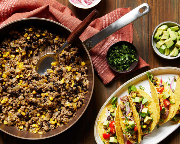 Green Chile Beef Tacos with Black Beans