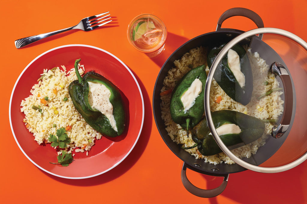 One Pot Chiles Rellenos with Rice