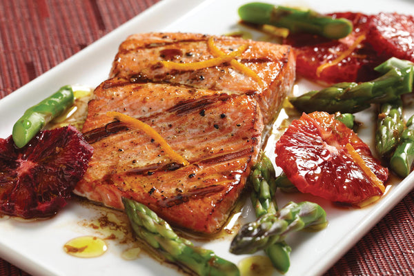 Salmon with Asparagus and Blood Oranges