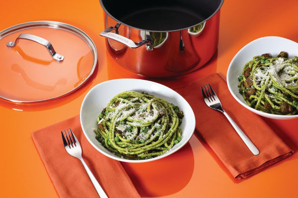 Bucatini, Bacon and Peas with Spinach Pesto