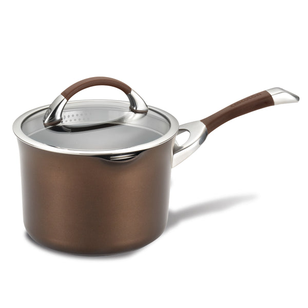 symmetry hard anodized nonstick straining saucepan feature