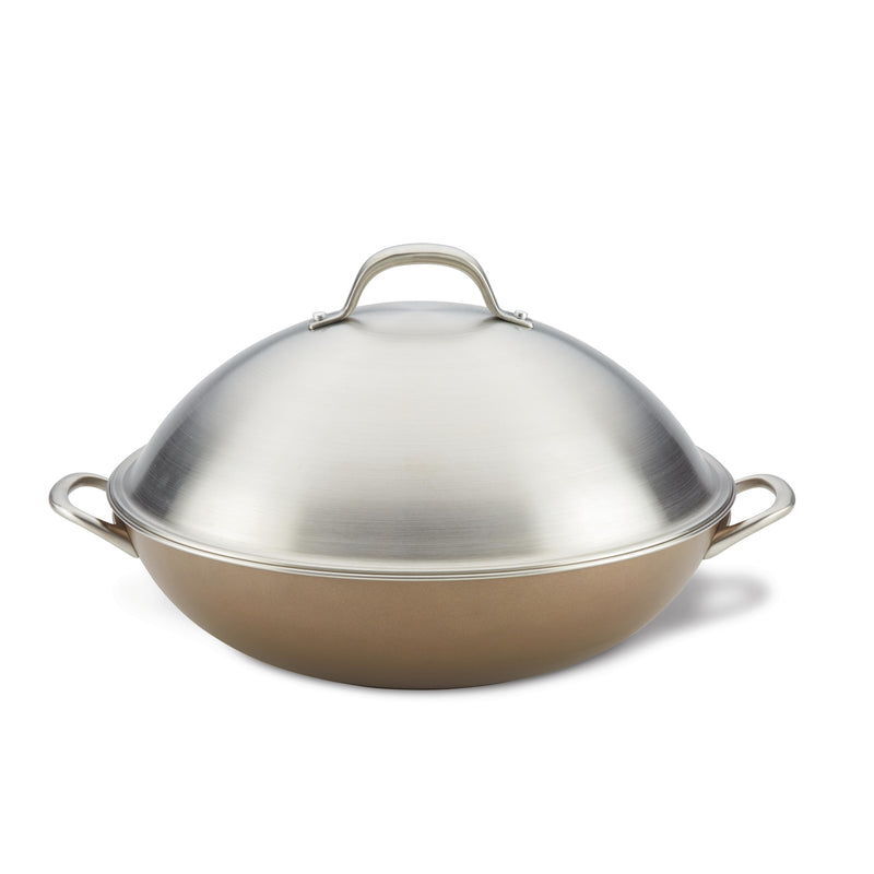 ultimum forged aluminum nonstick wok with lid feature