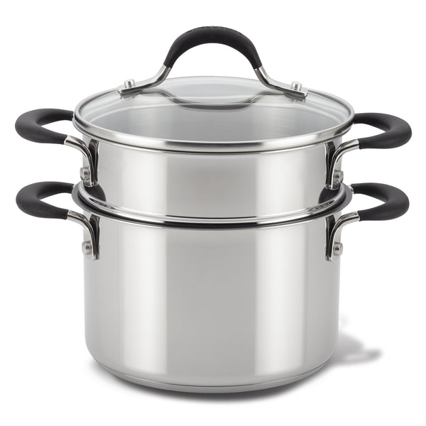Stainless Steel Nonstick Saucepot with Steamer Basket