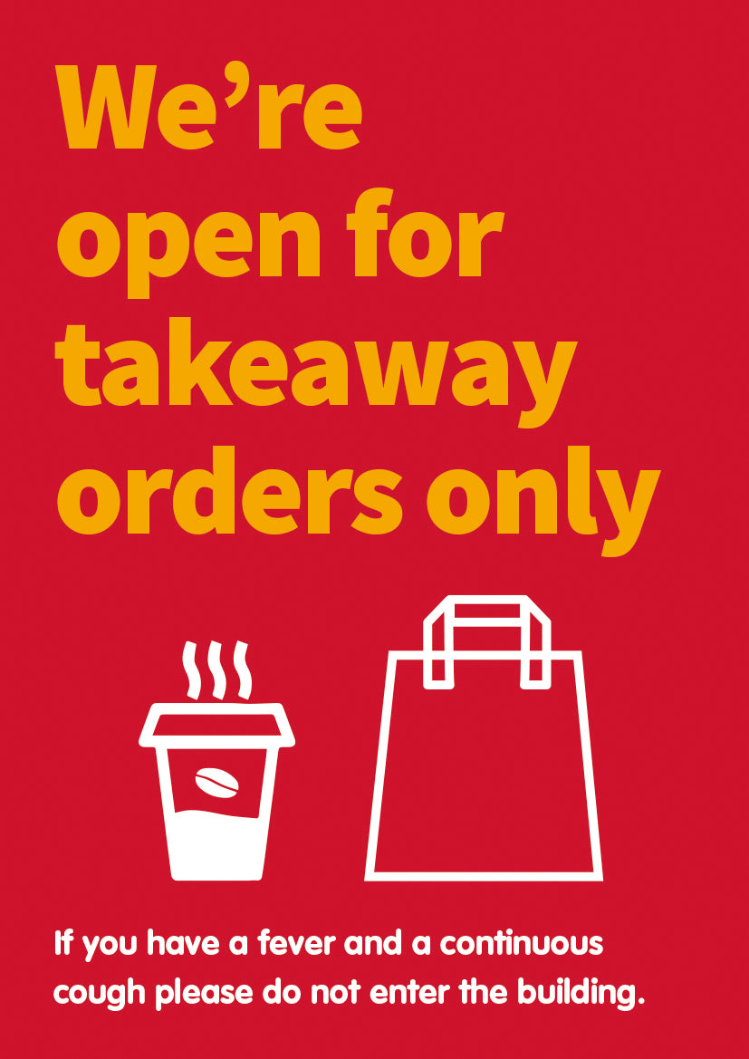 Open for Takeaway Orders self-cling vinyl