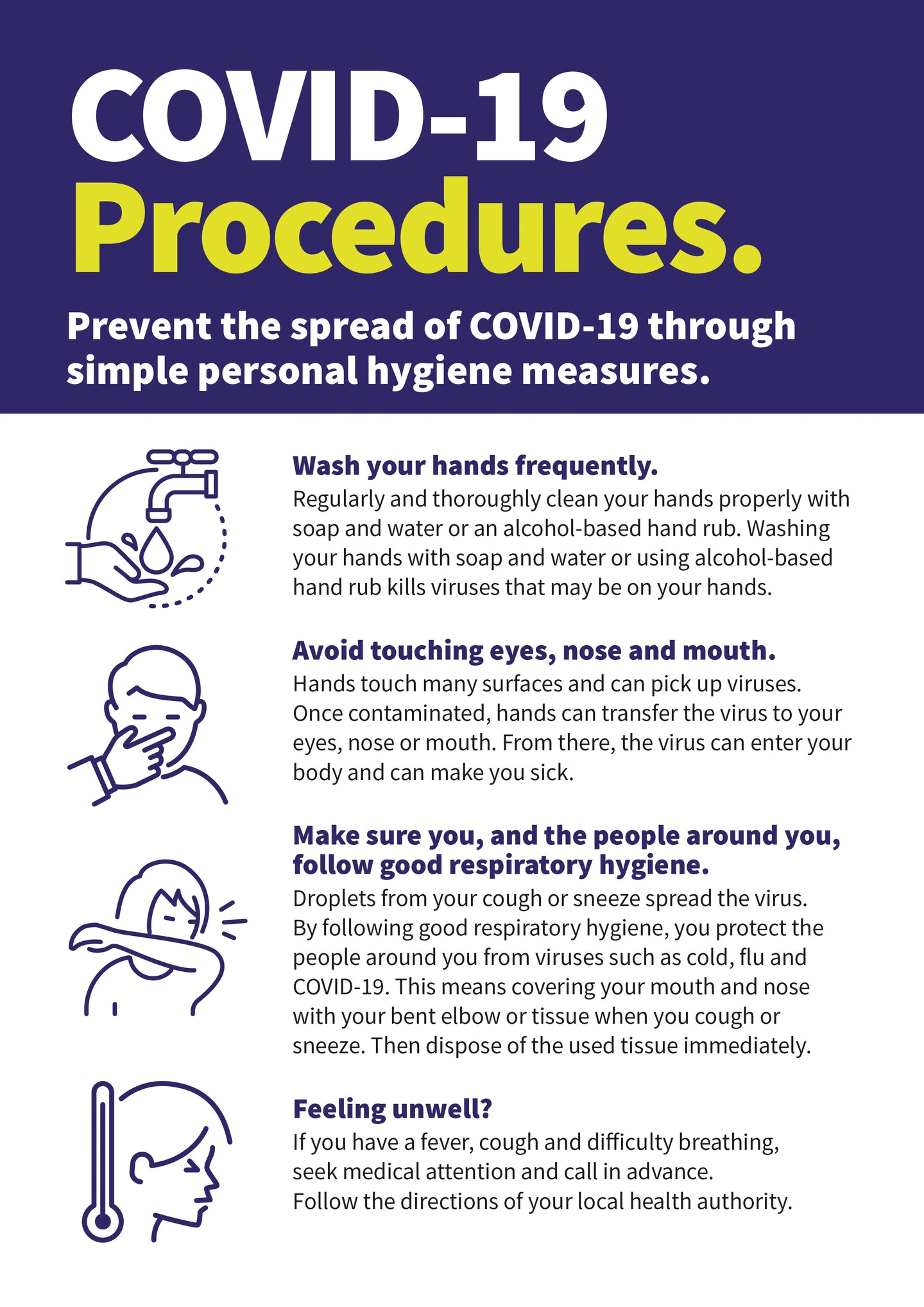 Covid-19 Procedures hardwearing poster