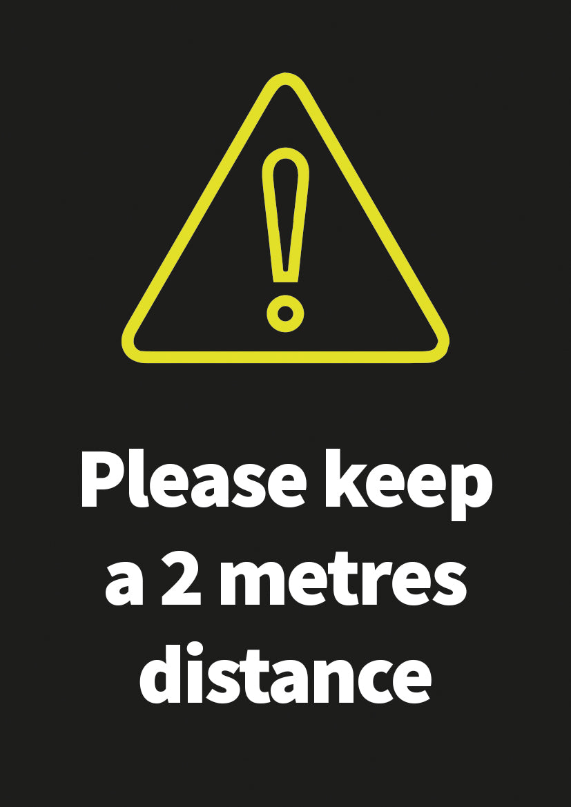 2 Metres Distance aluminium sign