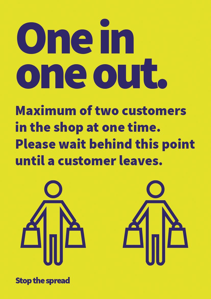One In - One Out aluminium sign