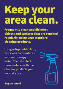 Keep Your Area Clean hardwearing poster