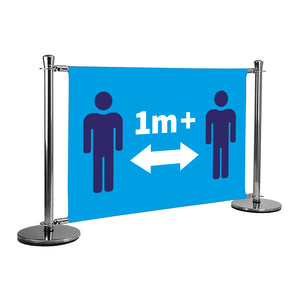 1m apart (figures) double sided queue barrier