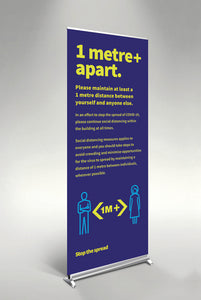 1 Metre Apart pull up banner