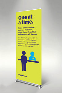One at a Time pull up banner