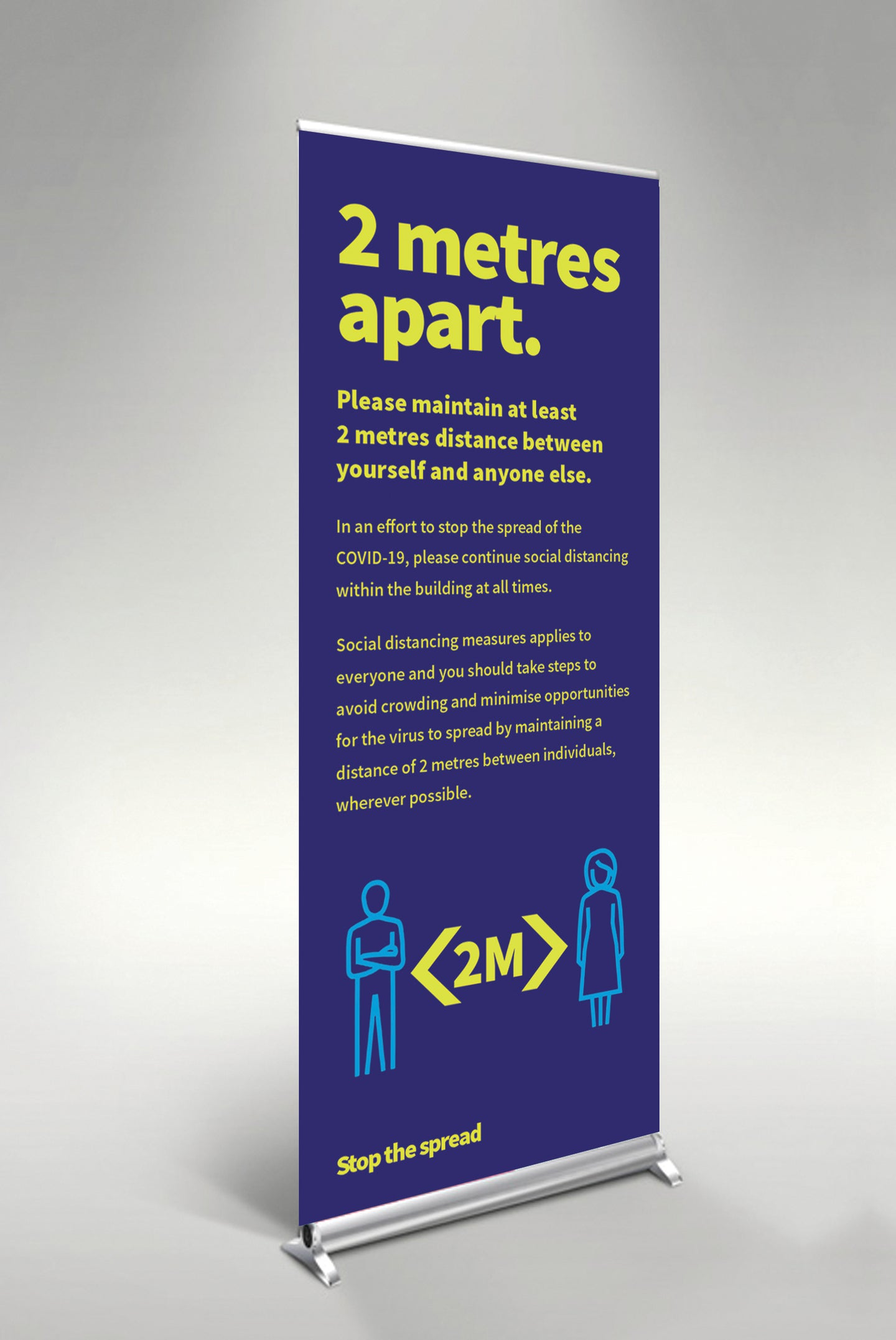 2 Metres Apart pull up banner