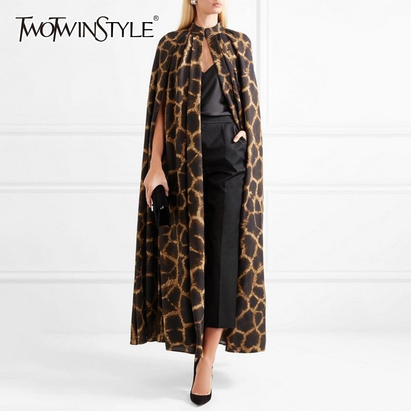 TWOTWINSTYLE Female Cardigan Coat O Neck Cloak Sleeve Print Leopard Maxi Cloaks For Women 2019 Autumn Vintage Fashion Tide