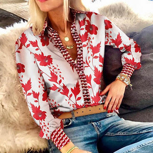 Fanbety Office Lady Notched Collar floral print blouse Shirts Women Boho Slim Fit Shirt tops Elegant Autumn Button Blouses Femme