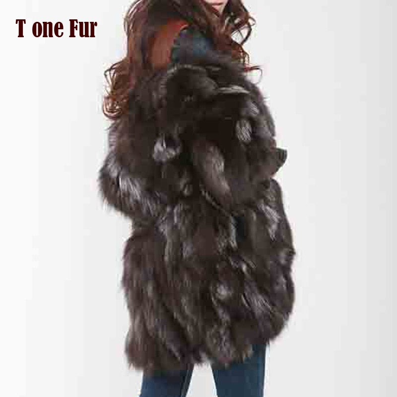2019 New Free Shipping New Fashion Women Fashion Real Natural Fox Fur Long Coat Jacket for Winter Warm Over Coat FP335
