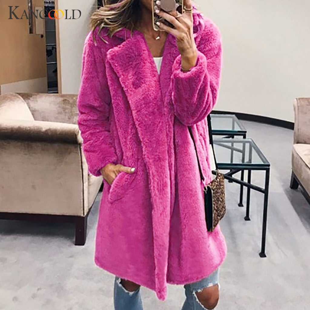 KANCOOLD coats MINIMALIST STYLE Ladi Warm Faux Fur Outerwear Winter Solid Turn Down Collar new coats and jackets women 2019Sep20