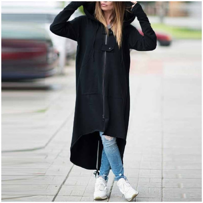 2019 Winter Trench Coat For Women Hooded Zipper Button Black Long Coat