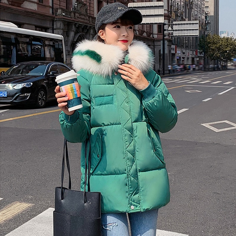 Casual Hooded Down Coats Women Winter Korean Big Size Thicken Fur Solid Zipper Parka Office Ladies Streetwear Female Down Jacket