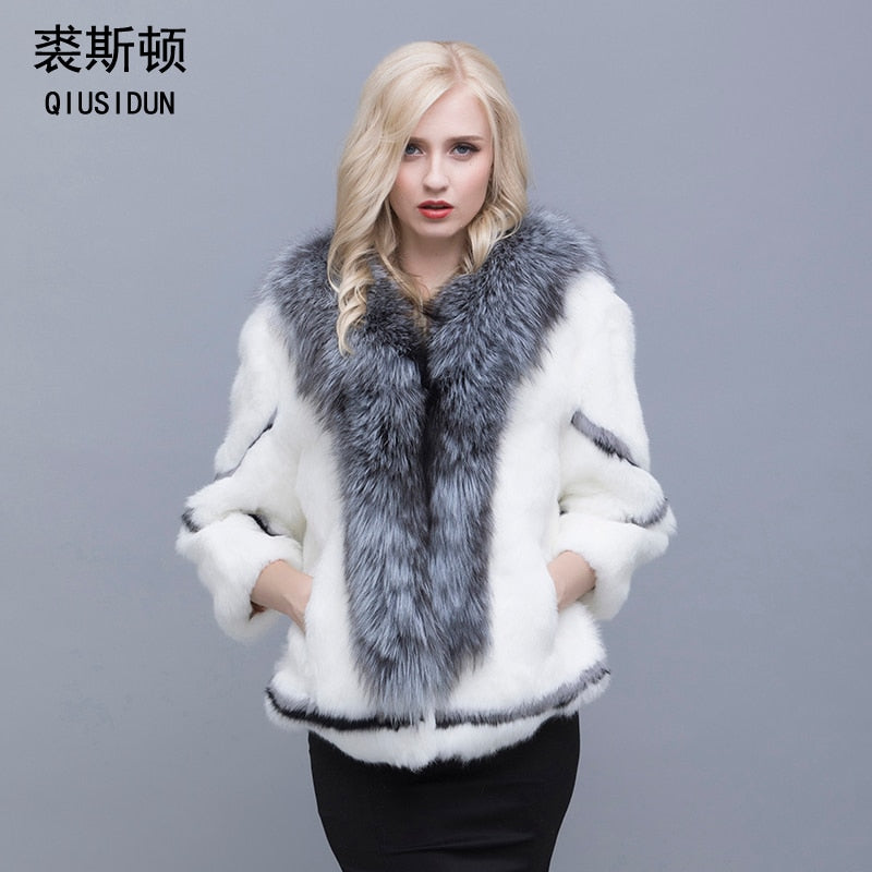 Real natural women's rabbit fur coat fox fur collar large size rabbit skin women winter coat black woman's casual autumn coat