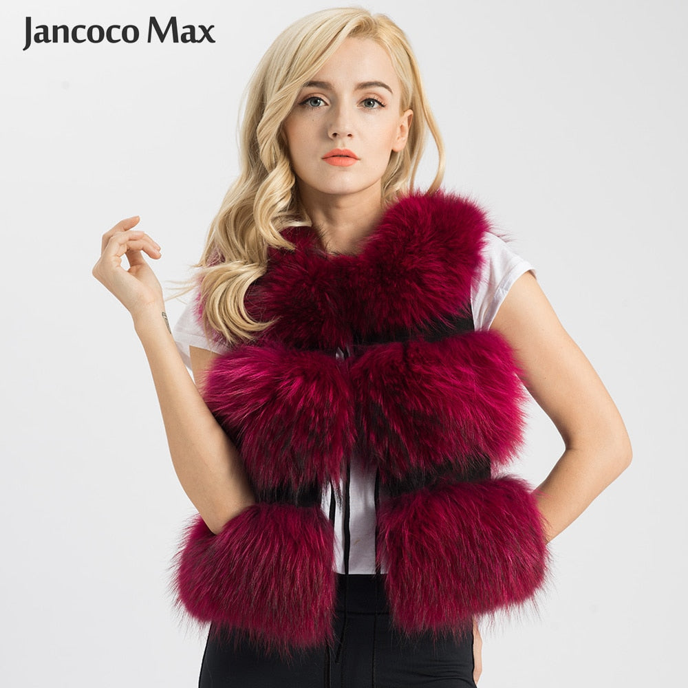 Jancoco Max 2019 Women Real Fur Vest Genuine Raccoon Fur Gilet Waistcoat Lady Winter Fashion 3 Rows Vest High Quality S1150SJ