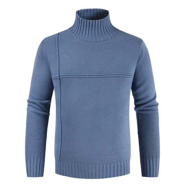 Mens Turtleneck Solid Casual Sweater
