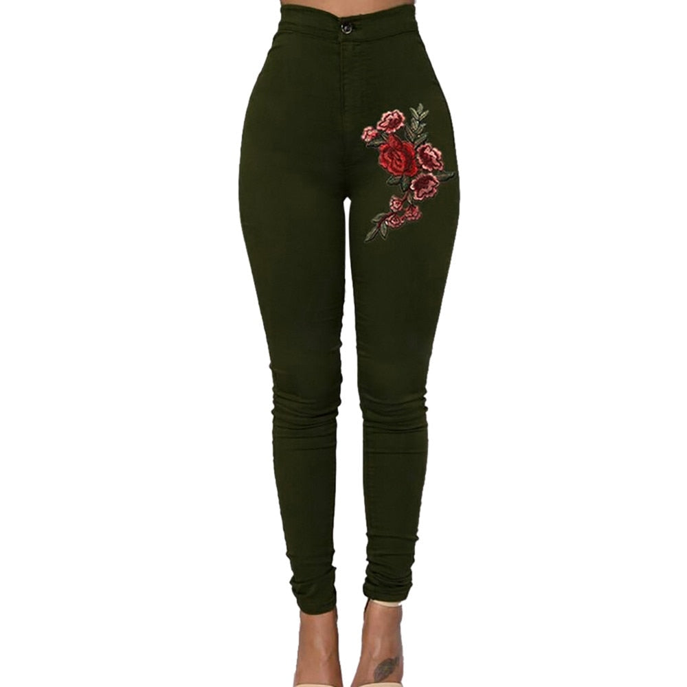 Casual Skinny Floral Applique Jeans