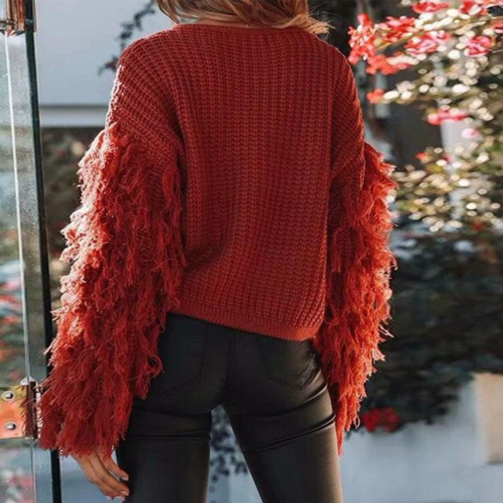 Fringed long-sleeved Sweaters