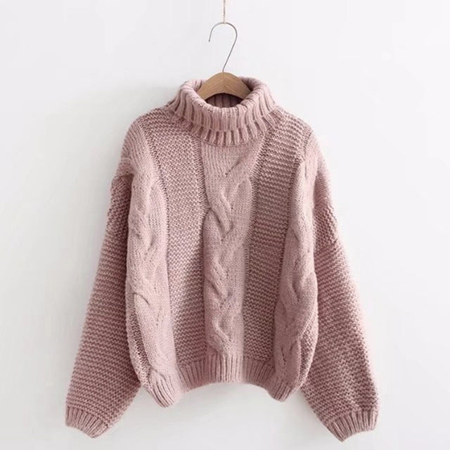 Women's Pink Turtleneck Sweater