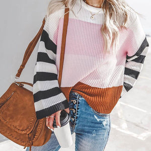 Knitted Paneled Striped Women's Sweater