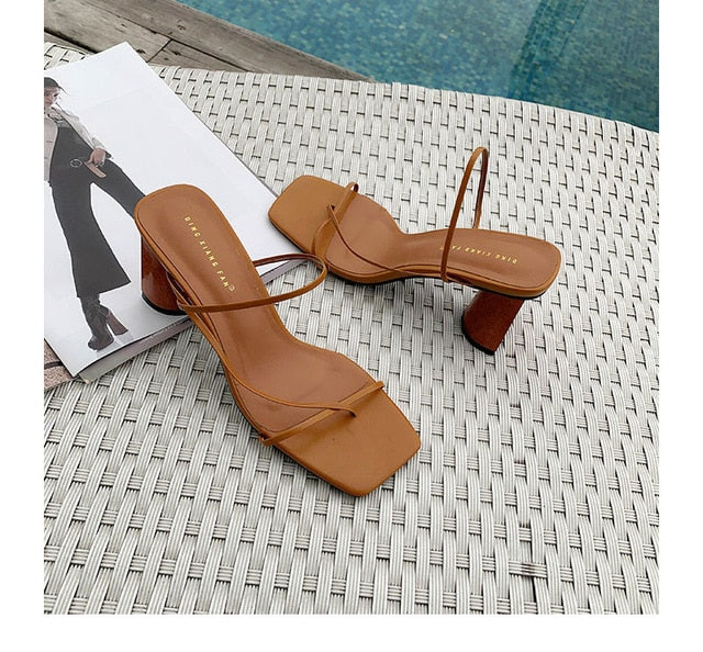 Wood Heel Slipper Women's Sandals