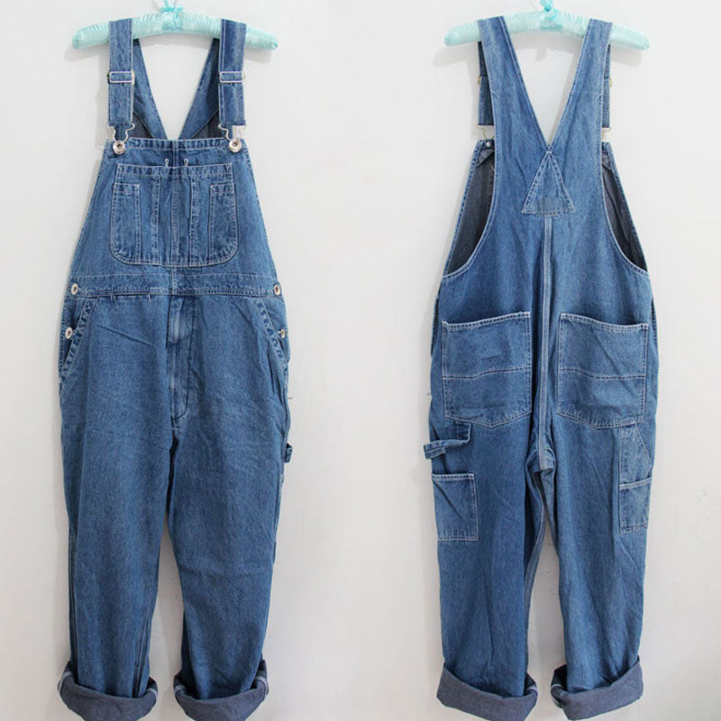 Large Size Denim Bib Pants