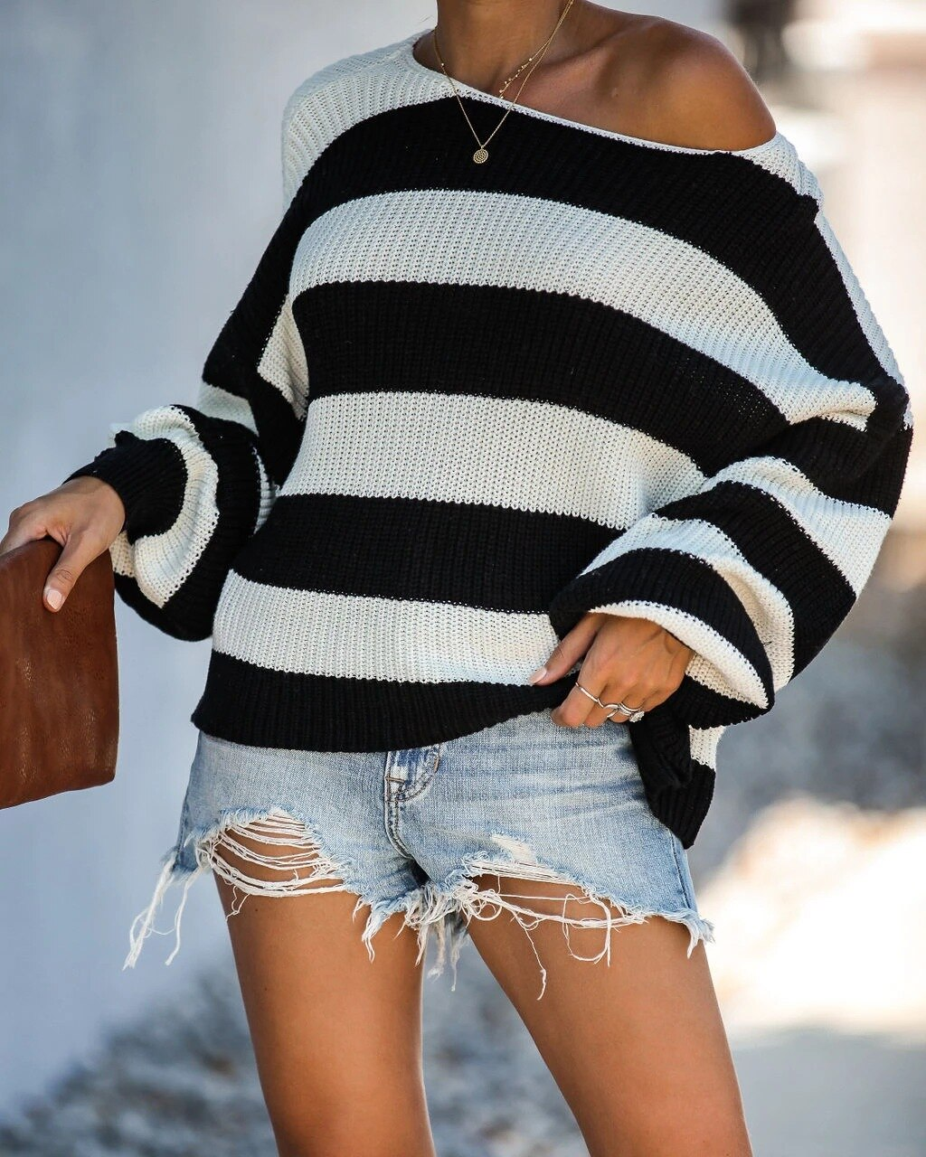 Long Sleeve Stripes Horizontal Neck