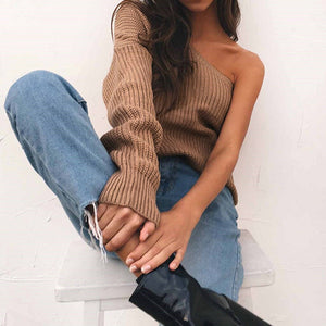 Single Shoulder Button Knit Sweater
