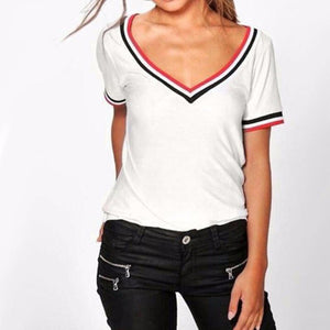 V-neck Striped Neckline Shirt